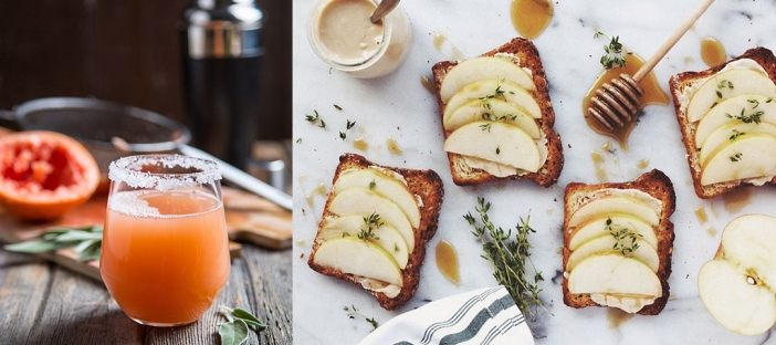 Sources: http://myvega.com/vega-life/recipe-center/grapefruit-sage-hydrating-mocktail/, http://tasty-yummies.com/2014/09/22/apple-tahini-toast-with-honey-and-thyme/
