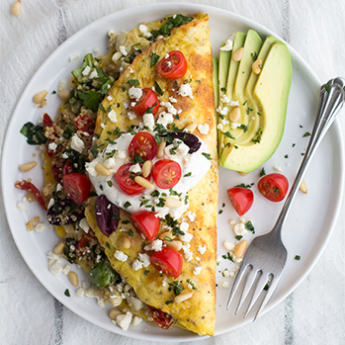 Greek Quinoa Dinner Omelets With Feta And Tzatziki
