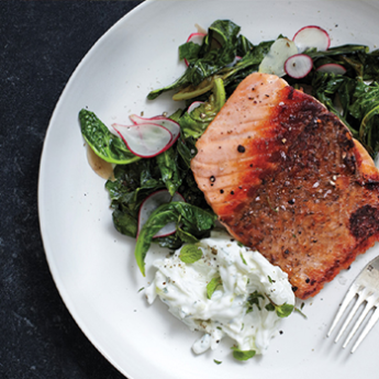 Pan-Roasted Salmon with Collards and Radish Raita